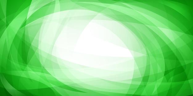 交差する曲線と緑色の曲がった半透明の形の抽象的な背景