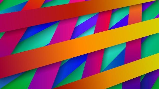 影と織り交ぜられた色のストライプの抽象的な背景