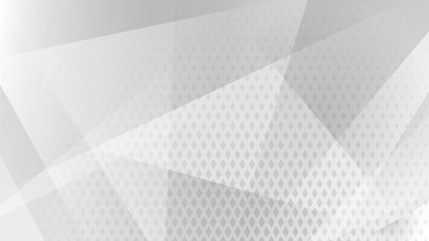 흰색과 회색 색상의 선, 다각형 및 하프톤 도트의 추상적 배경