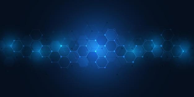 분자의 추상적인 배경입니다. 분자 구조 또는 화학 공학, 유전 연구, 혁신 기술. 과학, 기술 또는 의료 개념입니다.