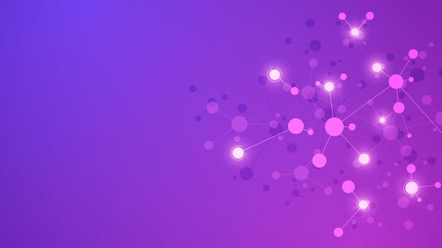 분자의 추상적 인 배경입니다. 분자 구조. 기술, 과학 및 의학 개념.