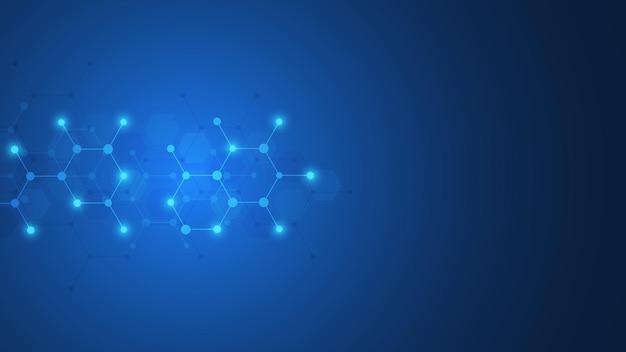 분자의 추상적 인 배경 프리미엄 벡터
