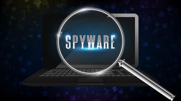 Абстрактный фон ноутбук ноутбук найти шпионское программное обеспечение с увеличительным стеклом