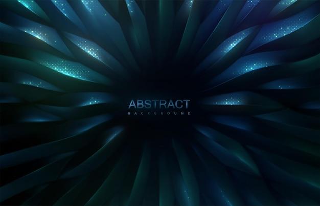 반짝이는 반짝이가 있는 방사형 진한 파란색 및 녹색 규모 3d 패턴의 추상 배경