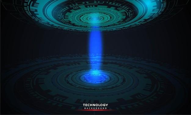 Абстрактный фон круглой футуристической технологии с элементами hud круг цифровой футуристический синий