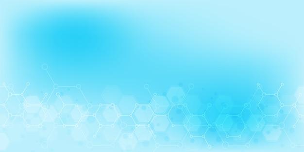 과학 및 혁신 기술의 추상적 인 배경입니다. 분자 구조 및 화학 공학 기술 배경.
