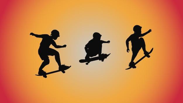 실루엣 스케이트 보드 포즈 이동 트릭의 추상적인 배경