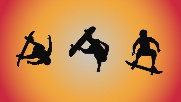 シルエットスケートボードポーズ移動トリックの抽象的な背景