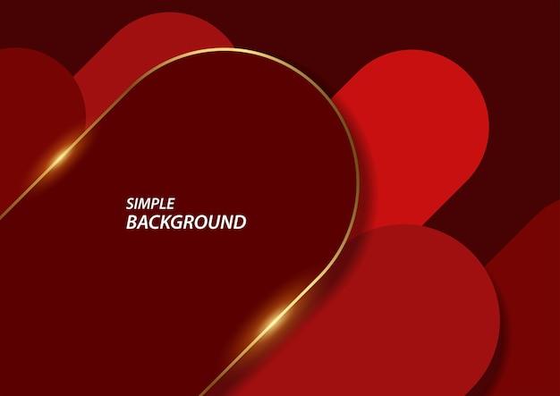 간단한 빨간색 모양과 반짝이 골드 라인, eps10의 벡터 일러스트 레이 션의 추상적 인 배경
