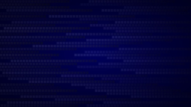 Абстрактный фон из маленьких квадратов или пикселей в оттенках темно-синего цвета