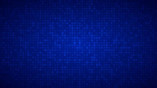 Абстрактный фон из маленьких квадратов или пикселей разного размера синего цвета.