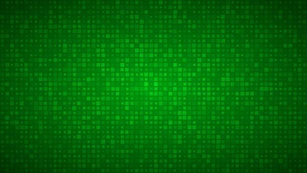 Абстрактный фон из маленьких квадратов или пикселей разного размера в зеленых тонах.