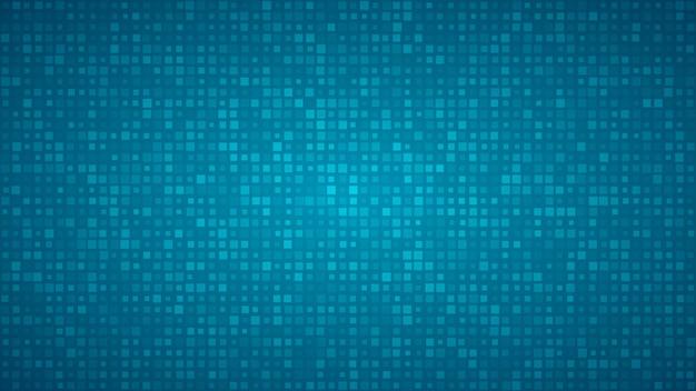 Абстрактный фон из маленьких квадратов или пикселей разного размера в голубых тонах.