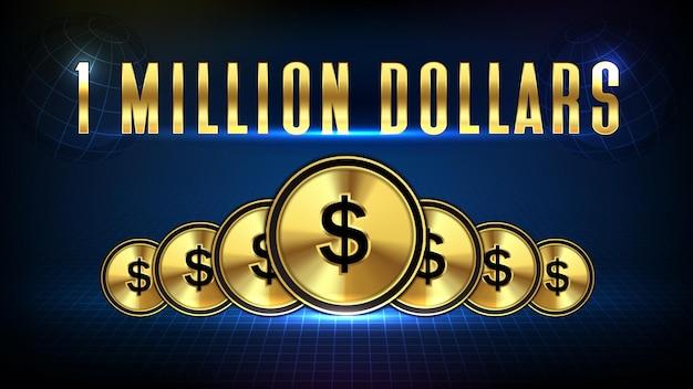 Абстрактный фон фондового рынка 1 миллион долларов и золотая монета доллар