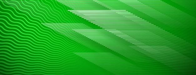 녹색 색상의 직선 및 물결 교차 선의 추상적 인 배경