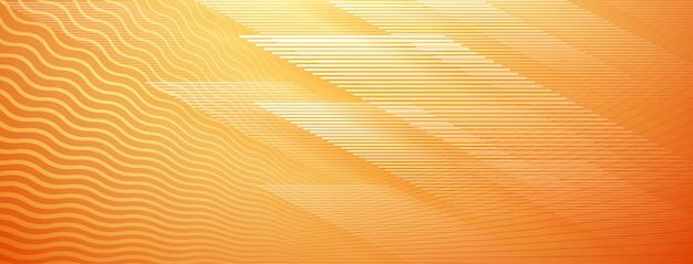 오렌지 색상의 직선 및 물결 교차 선의 추상적 인 배경
