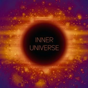 宇宙の奇妙なブラックホールの抽象的な背景。暗闇に落ちる輝く星。