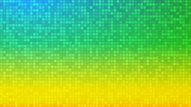 Абстрактный фон из очень маленьких квадратов или пикселей желтого и зеленого цветов.