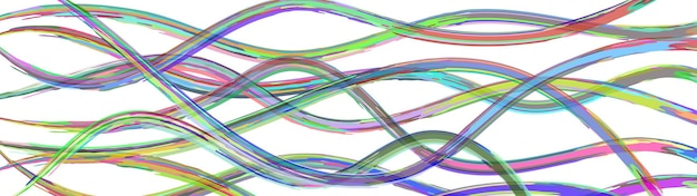 白の波状の絡み合う色の線の抽象的な背景