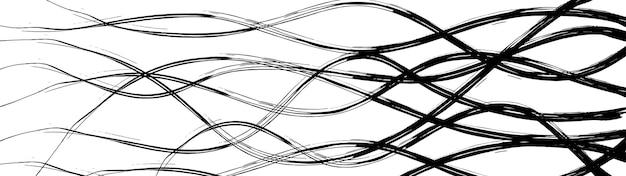 波状の絡み合う線の抽象的な背景、白地に黒