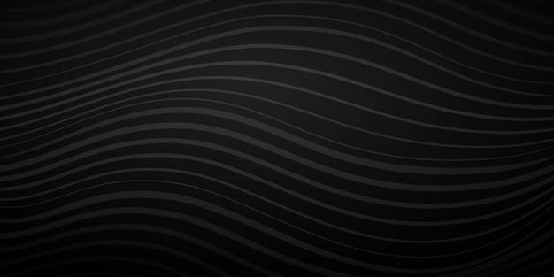 검정 색상의 다양한 두께의 물결선의 추상적 배경
