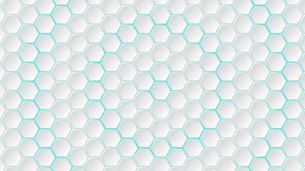 그들 사이에 밝은 파란색 간격이 있는 흰색 육각형 타일의 추상적 배경