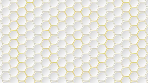 그들 사이에 노란색 간격이 있는 흰색 육각형 타일의 추상적인 배경