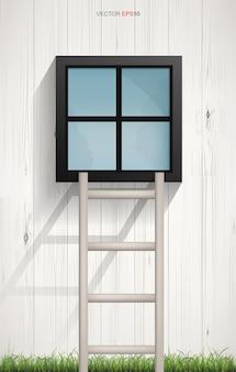 木製のはしごの抽象的な背景と木製の壁のテクスチャの正方形のウィンドウ