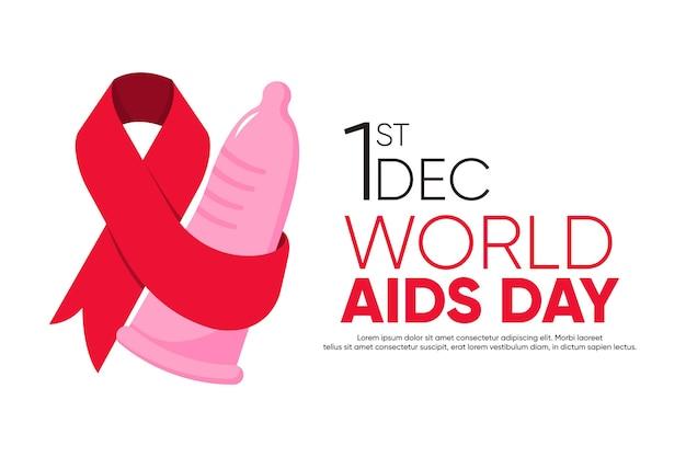 Абстрактный фон всемирного дня борьбы со спидом с презервативом