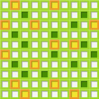 녹색 색상의 사각형 구멍이 있는 타일의 추상적인 배경 또는 원활한 패턴