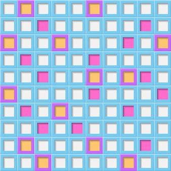 흰색, 연한 파란색 및 보라색 색상의 사각형 구멍이 있는 타일의 추상적인 배경 또는 원활한 패턴