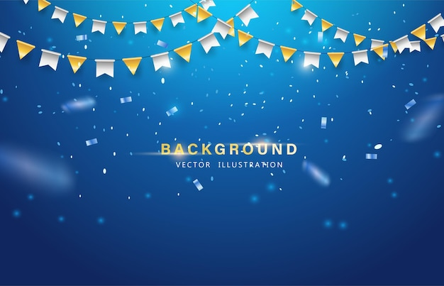 Abstract background. party, celebration or special birthday background with golden shiny glitters or ribbon falling in gradient background