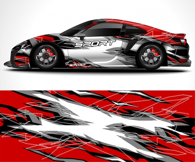 Abstract background for racing sport car wrap design and vehicle livery