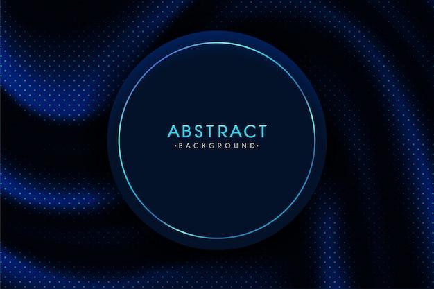 抽象的な背景。テキストを挿入するための丸いフレームと現実的な羽ばたく青いドットパターン。