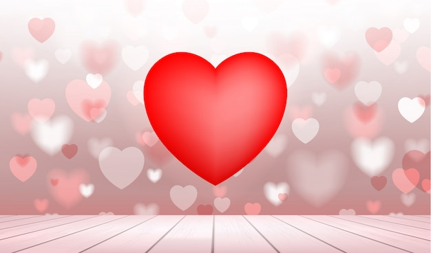 Abstract background of red heart with light blurred bokeh.