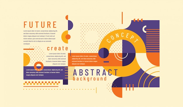 Abstract background in retro style with geometric shapes