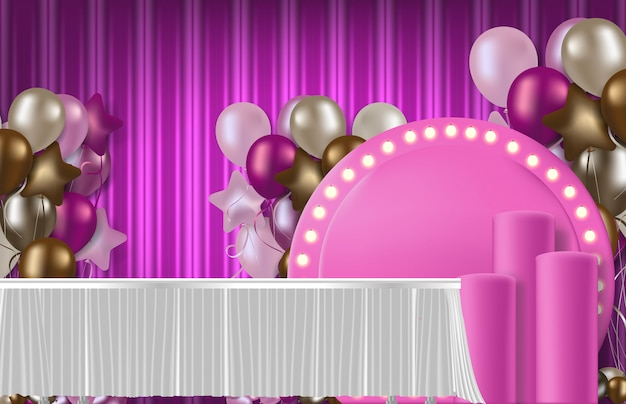 Abstract background of romantic pink anniversary party concept