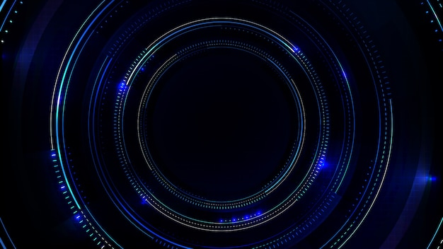 Abstract background of sci fi hud ui with blue printed circuit board