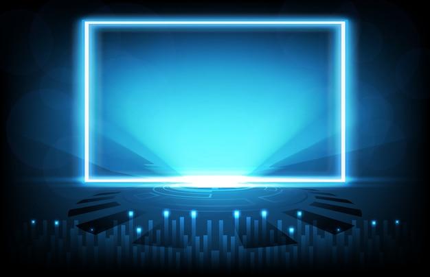 ブルーライトフレームとインターネット接続の抽象的な背景sci fiインターフェイス技術