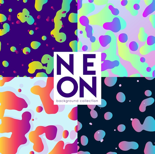 Abstract background set with neoon fluids