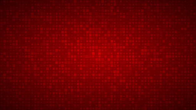 Abstract background of small squares or pixels of different sizes in red colors.