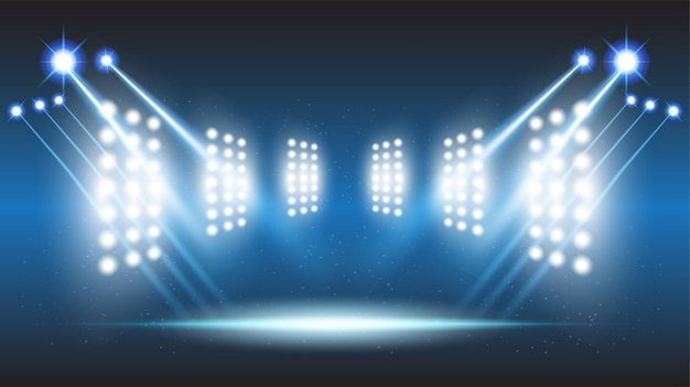 Abstract background stadium stage hall with scenic lights of round futuristic technology