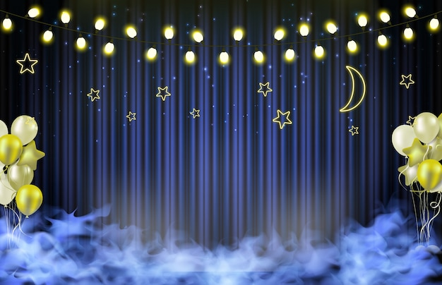 Abstract background of star and moon backdrop, party concept