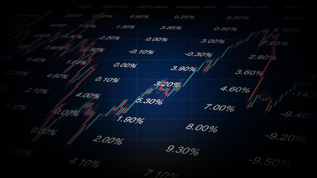 Abstract background of stock market candlestick graph with economic indicators table