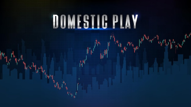 Abstract background of stock market domestic play and indicator technical analysis graph