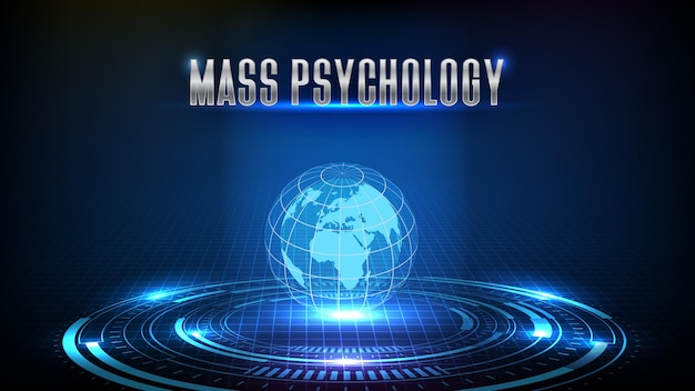 Abstract background of stock market mass psychology trading with globe earth hud ui screen