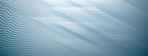 Abstract background of straight and wavy intersecting lines in light blue colors