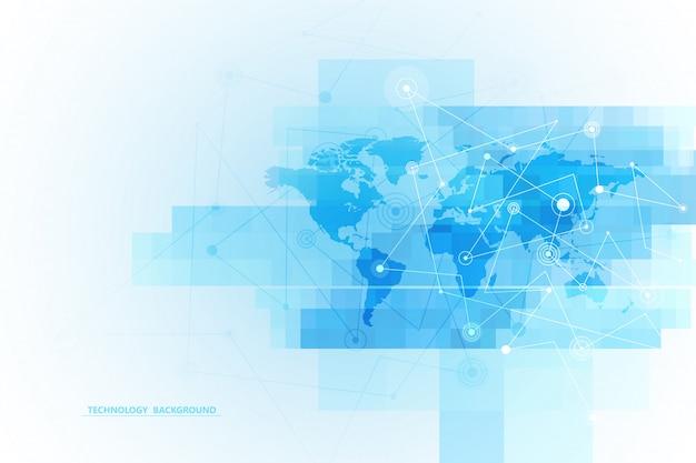 抽象的な背景技術と科学のグラフィックデザイン。点と線の接続。インターネット接続。グローバルネットワーク接続。