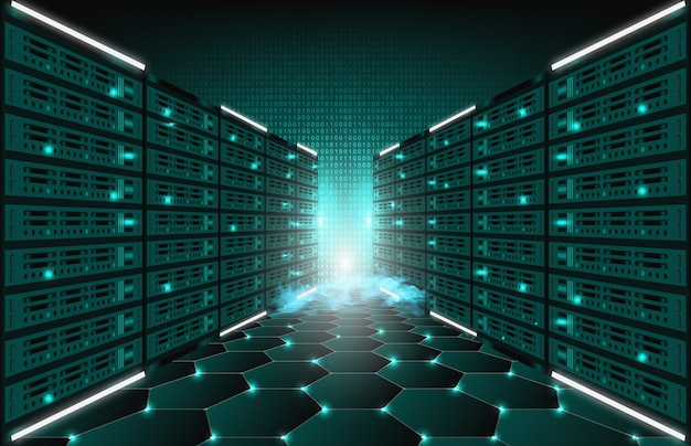 Abstract background of technology internet server data room