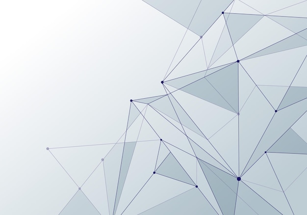 Abstract background technology style white low poly connection with nodes. global data blockchain plexus future perspective backdrop. vector illustration